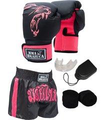 kit fight mma brazuca luva shorts bandagem bucal pink - kanui