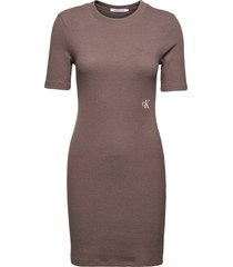 slub rib 3/4 sleeves dress dresses bodycon dresses brun calvin klein jeans