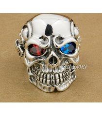 linsion 925 sterling silver titan skull red blue cz stone eyes biker punk ring