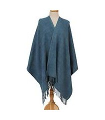 cotton rebozo shawl, 'azure nature' (mexico)