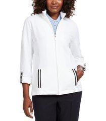 karen scott sport french terry ribbon-trim jacket, created for macy's