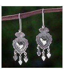 sterling silver chandelier earrings, 'gypsy heart' (mexico)