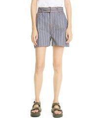 women's ganni mixed stripe denim shorts, size 32 - blue