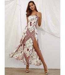correas ajustables con dobladillo dividido estampado floral blanco maxi vestido