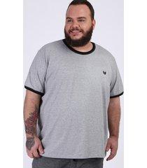 camiseta masculina plus size manga curta gola careca cinza mescla