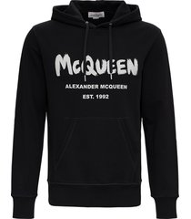 alexander mcqueen black cotton hoodie with logo print