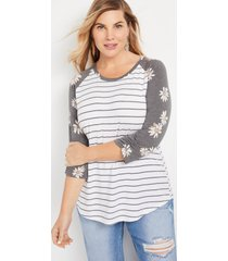 maurices plus size womens 24/7 daisy stripe ruched sleeve baseball tee white