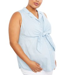 motherhood maternity plus size tie-front shirt