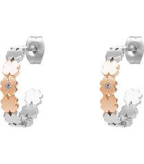 orecchini a cerchio in acciaio bicolore tre quadrifogli e strass per donna