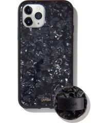 sonix black tort print iphone 11 pro case & slide silicone phone ring - black