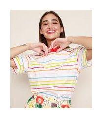 t-shirt feminina mindset listrada manga curta decote redondo off white