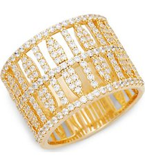 fluted goldtone simulated diamond ring