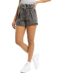 women's blanknyc paperbag waist denim shorts, size 29 - black