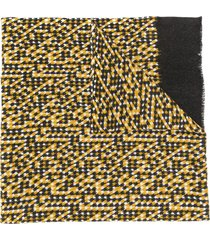 altea chevron patterned frayed edge scarf - yellow