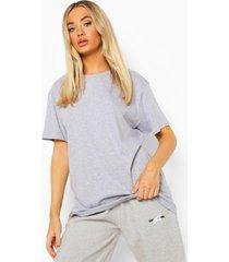 oversized self love t-shirt met rugopdruk, grey marl