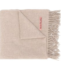 acne studios canada new fringed scarf - neutrals