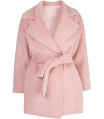 apparis marine faux fur reversible wrap jacket - pink