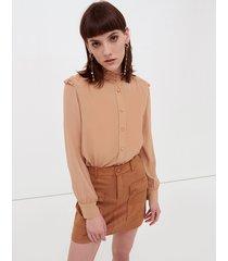 motivi camicia con alette arricciate donna marrone