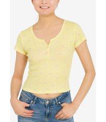 hippie rose juniors' henley t-shirt