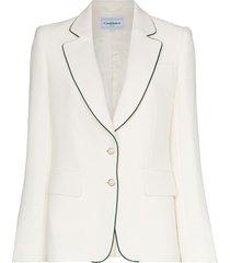casablanca piped-trim tennis blazer - white