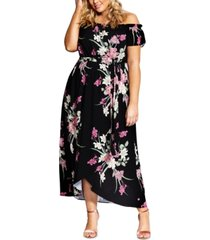 city chic trendy plus size off-the-shoulder floral maxi dress