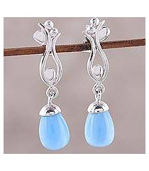 rhodium plated chalcedony dangle earrings, 'blue tulip' (india)