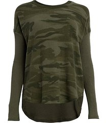 camo ribbed-sleeve pullover