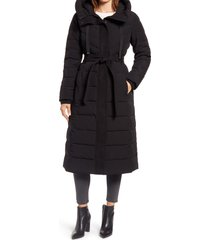 women's ellen tracy belted hooded quilted coat, size large - black