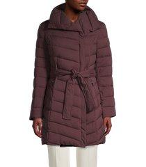 tahari women's kim quilted wrap jacket - merlot - size m