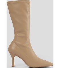 na-kd shoes smala boots med lång tå - beige