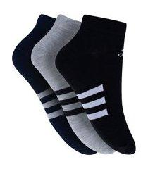 kit de meias adidas low cut com 3 pares - 35 a 37 - infantil