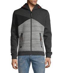 contrast zip-front hoodie
