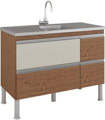 gabinete para cozinha prisma 86x114cm amêndoa e off white