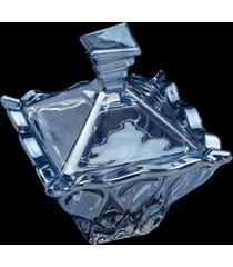 potiche decorativo de cristal com tampa azul 11x13cm – linha safir