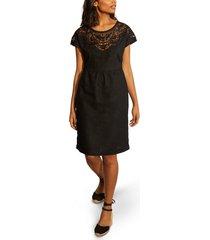 women's boden fleur embroidered linen dress, size 4 - black