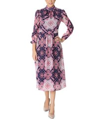 julia jordan printed chiffon midi dress