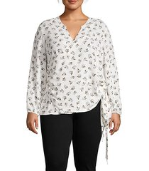 plus floral-print wrap top