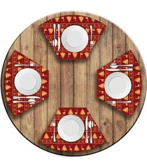 jogo americano   para mesa redonda wevans premium vermelho  love decor