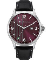 ben sherman men's black genuine leather strap classic three hand watch, 44mm