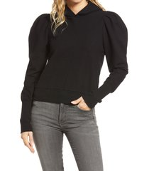 ag walker puff sleeve hoodie, size x-small in true black at nordstrom