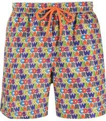 gcds all-over logo print swim shorts - blue