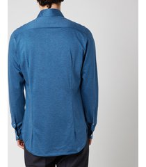 canali men's cotton stretch sports shirt - mid blue - l