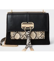 river island womens black snake print tassel ri satchel bag