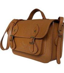 bolsa line store leather satchel mini couro caramelo.