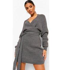 geribbelde gebreide mini jurk met vleermuismouwen, grey