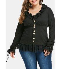 plus size ruffled lace insert jacket