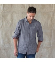 gilded age blue chambray shirt