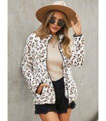 yoins cremallera de leopardo blanco diseño abrigo de manga larga con bolsillos laterales