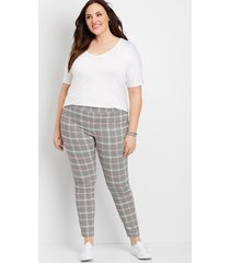 maurices plus size womens plaid pull on bengaline skinny ankle pants