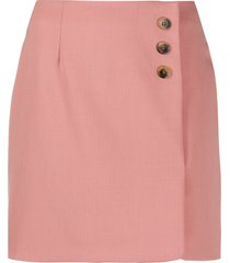 alexa chung tortoiseshell button mini skirt - pink